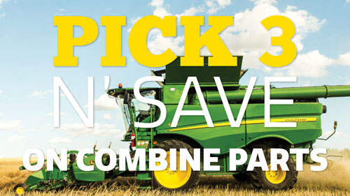 Pick 3 N' Save 15% on select John Deere combine parts when you spend $150 or more.